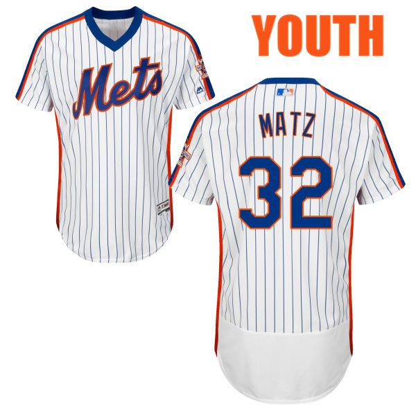 Home Youth Steven Matz no. 32 Flexbase White Authentic Majestic New York Mets Baseball Jersey - Steven Matz Jersey